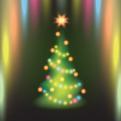 Home Christmas fir tree on colorful background.