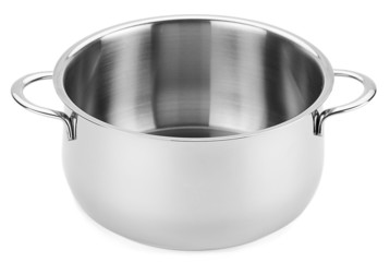 Stainless steel pot without cover isolated on white background