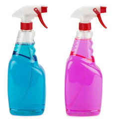 Blue and pink window cleaning sprays in plastic container
