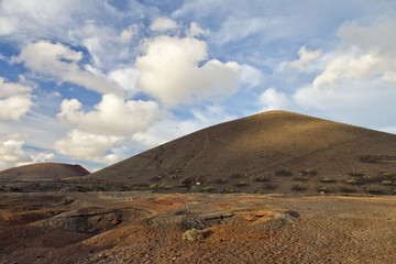 Volcanic landscape and lava desert of Lanzarote island, Spain