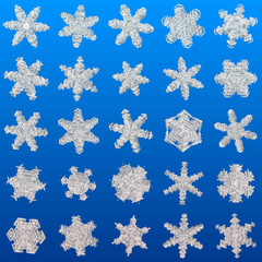Snowflakes set generated texture