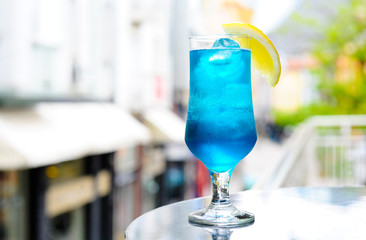 Blue cocktail on the terrace