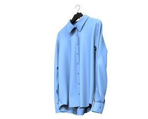 Bright blue long sleeve shirt isolated on white background.