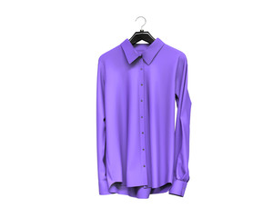 Purple long sleeve shirt isolated on white background.
