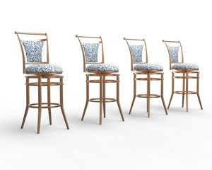 Row of white coffee shop chairs on white background.