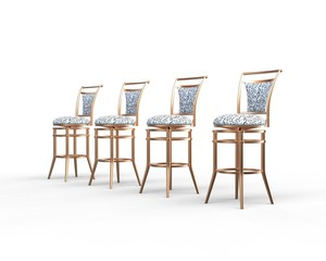 Four coffee shop chairs on white background.