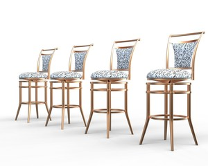 Four coffee shop chairs on white background - close up.