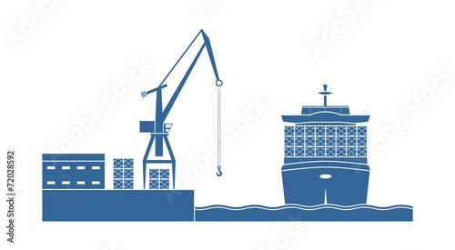 Zdjęcia na płótnie, fototapety, obrazy : Container ship in the port