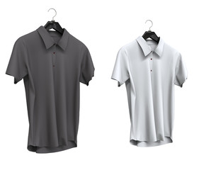 Grey and white short sleeve shirts isolated on white background.