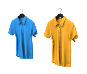 Blue and yellow short sleeve shirts on white.