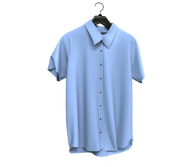 Pale blue short sleeve shirts isolated on white background.