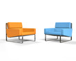Orange and blue modern armchair isolated on white background