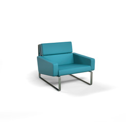 Cyan modern armchair isolated on white background.
