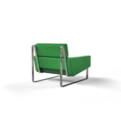 Green modern armchair isolated on white background - back view.