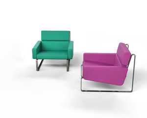 Green and magenta modern armchair isolated on white background