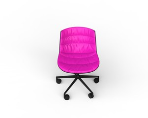 Pink modern office chair on white background - front view.