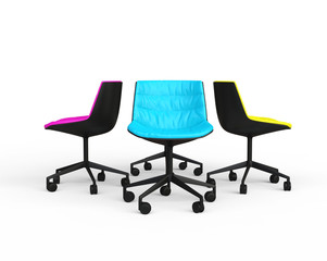 Pink, blue and yellow modern office chairs on white background.
