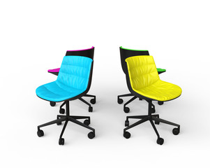 Colorful office chairs on white background.