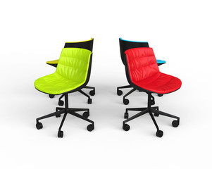 Green and Red office chairs on white background.