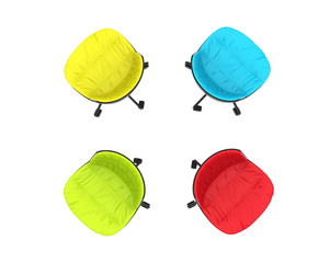 Four colorful office chairs on white background - top view.