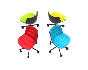 Four colorful office chairs on white background - top side view.