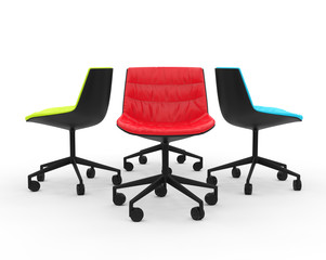 Red, green and blue modern office chairs on white background.