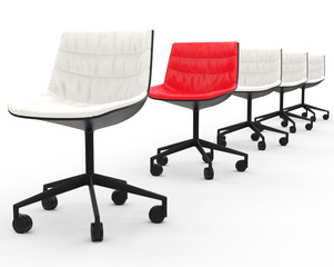 Red office chair in row of white chairs with depth of field