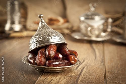 Fotobehang Aromatische Dried date palm fruits or kurma, ramadan ( ramazan ) food