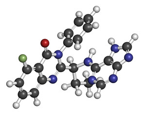 Idelalisib leukemia drug molecule.