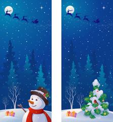 Christmas night vertical banners