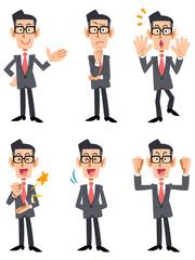 眼鏡をかけたスーツの男性 (正面向き)