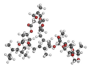 Ivermectin antiparasitic drug molecule.