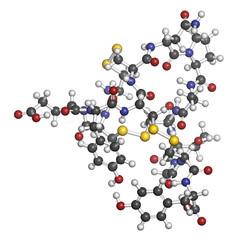 Linaclotide irritable bowel syndrome drug molecule.