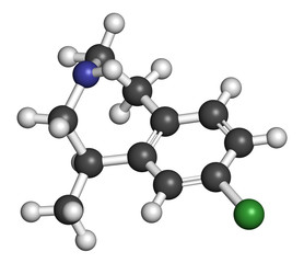 Lorcaserin obesity drug molecule.