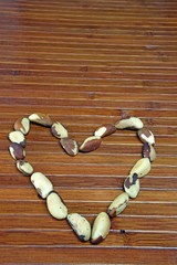 Brazil Nuts In A Heart Shape (Bertholletia excelsa)