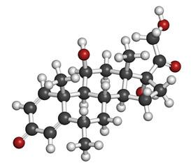 Methylprednisolone corticosteroid drug molecule.