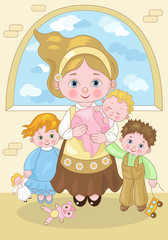 Small Characters-Mother and Children