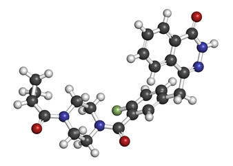 Olaparib cancer drug molecule.