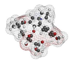 Omacetaxine mepesuccinate cancer drug molecule.