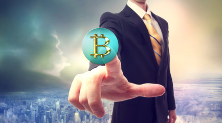 Bitcoin currency with businessman