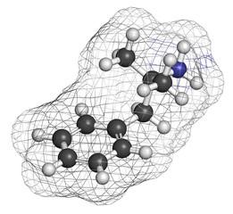 Phentermine appetite suppressant drug molecule.