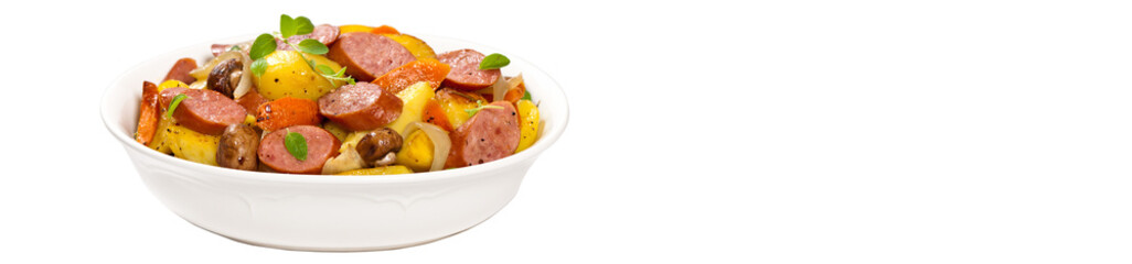 Potato and Sausage Dinner. Isolated on white background.