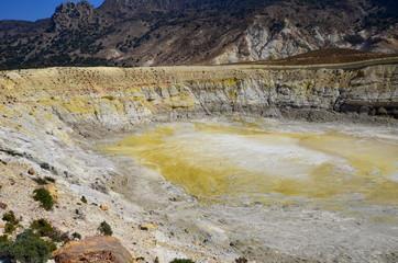 Great sulfuric volcano (Stefanos) on Nisyros island, Greece