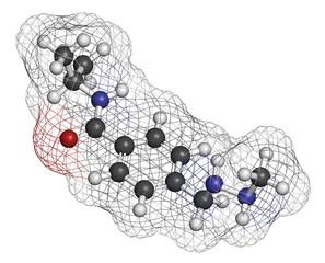 Procarbazine cancer drug molecule.