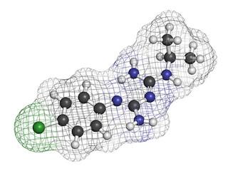 Proguanil prophylactic malaria drug molecule.
