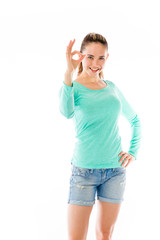 model isolated on plain background hand gesture ok sign