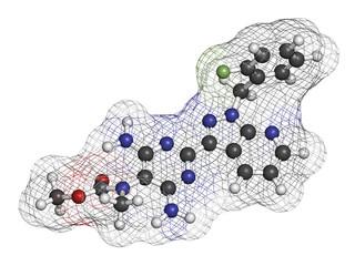 Riociguat pulmonary hypertension (PH) drug molecule.