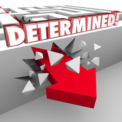 Determined 3d Red Words on Maze Wall Arrow Crashing Through