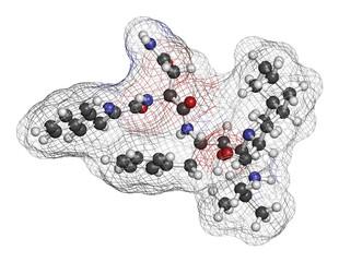 Saquinavir HIV drug molecule.
