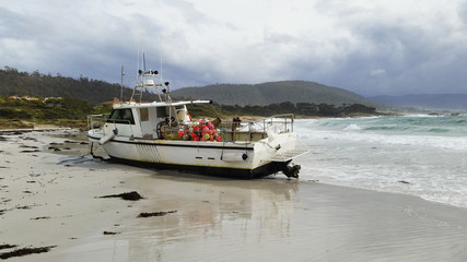 Fishing boat broken from mooring
